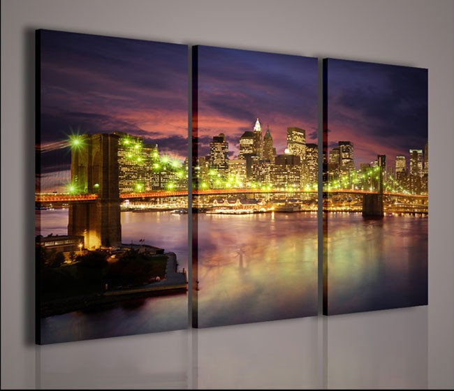 Quadri moderni quadri citt new york bridge 3 quadri for La citta con il museo van gogh
