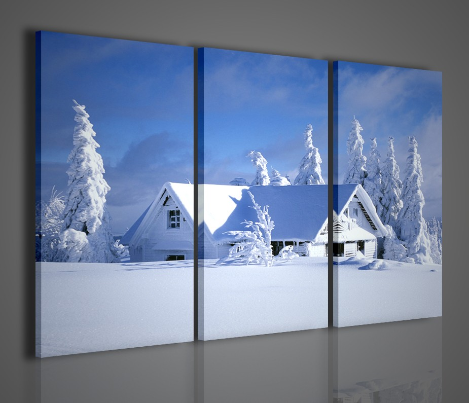 Quadri moderni paesaggio innevato citta arredamento for Stampe arredo casa